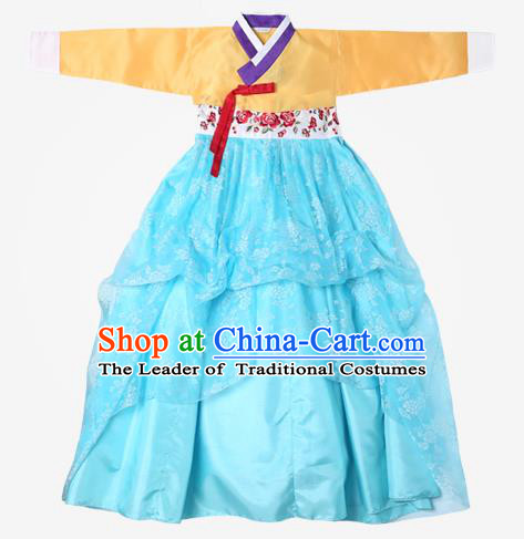 Top Grade Korean National Handmade Wedding Clothing Palace Bride Hanbok Costume Embroidered Yellow Blouse and Blue Dress for Women