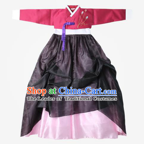 Top Grade Korean National Handmade Wedding Clothing Palace Bride Hanbok Costume Embroidered Red Blouse and Pink Dress for Women