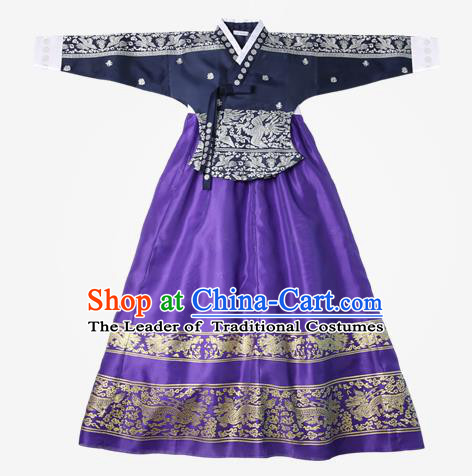Top Grade Korean National Handmade Wedding Clothing Palace Bride Hanbok Costume Embroidered Navy Blouse and Purple Dress for Women
