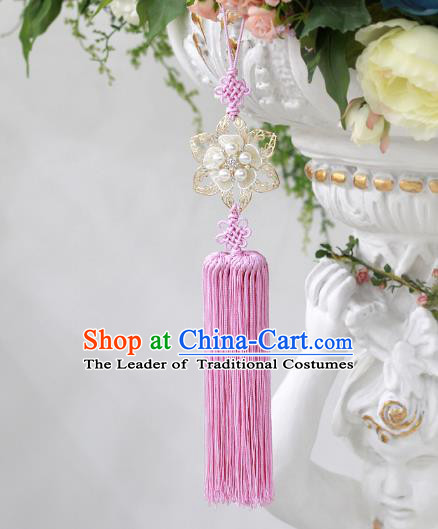 Asian Korean Hanbok Pearls Flower Pink Tassel Waist Decorations, Korean National Belts Accessories Wedding Bride Waist Pendant for Kids