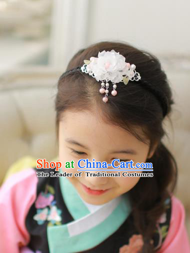 Korean National Hair Accessories Wedding Bride Lotus Tassel Hair Clasp, Asian Korean Hanbok Headband Headwear for Kids