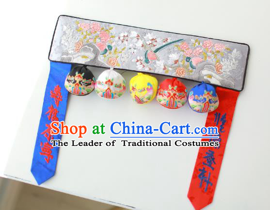 Traditional Korean Accessories Embroidered Birds Flowers Grey Waist Belts, Asian Korean Fashion Waistband Decorations for Kids