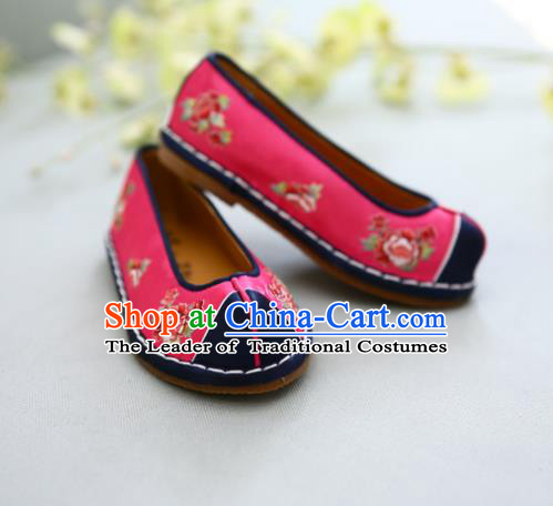 Traditional Korean National Wedding Shoes Red Embroidered Shoes, Asian Korean Hanbok Embroidery Flat Shoes for Kids