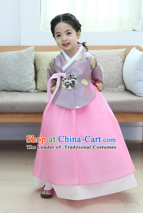 Korean National Handmade Formal Occasions Girls Clothing Palace Hanbok Costume Embroidered Purple Blouse and Pink Dress for Kids