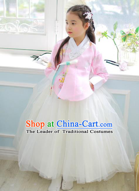 Korean National Handmade Formal Occasions Girls Clothing Palace Hanbok Costume Embroidered Pink Blouse and White Veil Dress for Kids