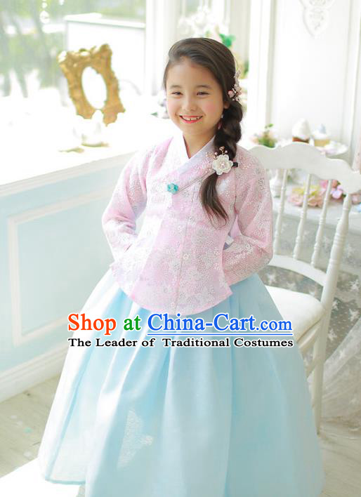 Korean National Handmade Formal Occasions Girls Clothing Palace Hanbok Costume Embroidered Pink Lace Blouse and Blue Dress for Kids