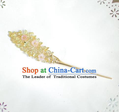 Korean National Bride Hair Accessories Flowers Hairpins, Asian Korean Hanbok Palace Hair Stick Headwear for Kids