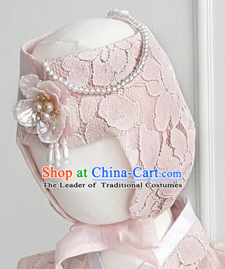 Korean National Bride Hair Accessories Pink Lace Hats, Asian Korean Hanbok Palace Headwear for Kids