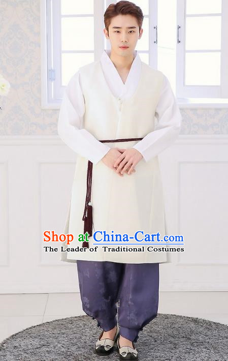 Asian Korean National Traditional Formal Occasions Wedding Bridegroom Embroidery White Long Vest Hanbok Costume Complete Set for Men