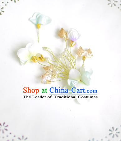 Korean National Bride Hair Accessories Flowers Hair Claw, Asian Korean Hanbok Palace Hair Stick Headwear for Kids