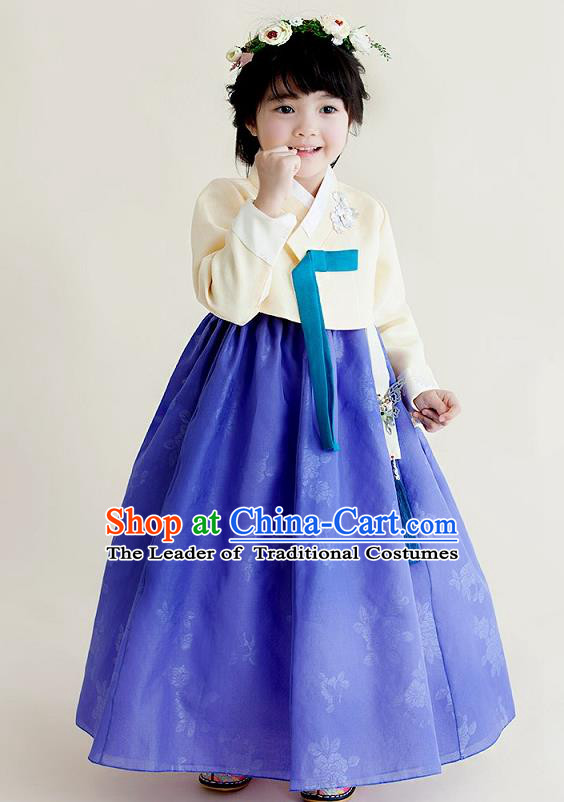 Korean National Handmade Formal Occasions Girls Clothing Palace Hanbok Costume Embroidered Yellow Blouse and Blue Dress for Kids