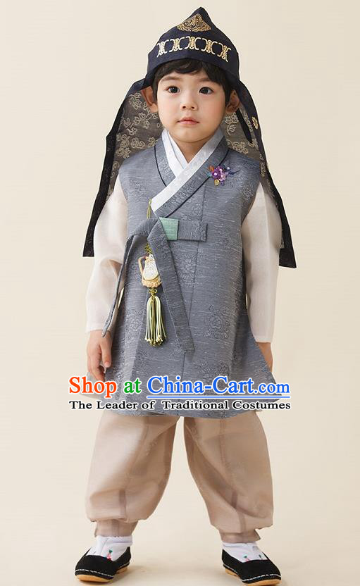 Asian Korean National Traditional Handmade Formal Occasions Boys Embroidery Light Grey Vest Hanbok Costume Complete Set for Kids