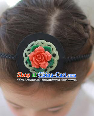 Korean National Bride Hair Accessories Red Flowers Hair Clasp, Asian Korean Hanbok Palace Headband Headwear for Kids