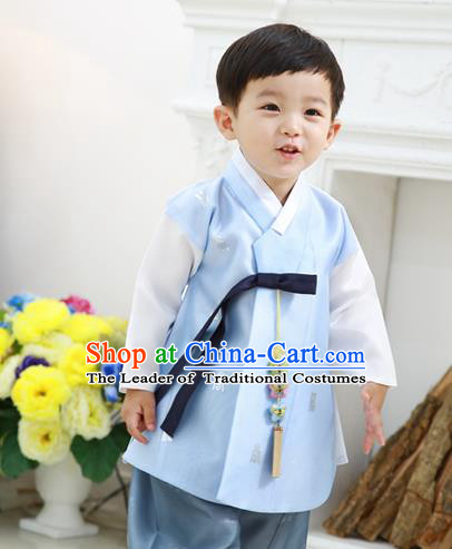 Asian Korean National Traditional Handmade Formal Occasions Boys Embroidery Blue Vest Hanbok Costume Complete Set for Kids