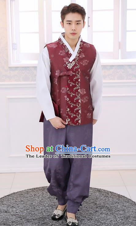 Asian Korean National Traditional Formal Occasions Wedding Bridegroom Embroidery Wine Red Vest Hanbok Costume Complete Set for Men