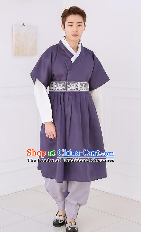 Asian Korean National Traditional Formal Occasions Wedding Bridegroom Embroidery Navy Long Vest Palace Hanbok Costume Complete Set for Men