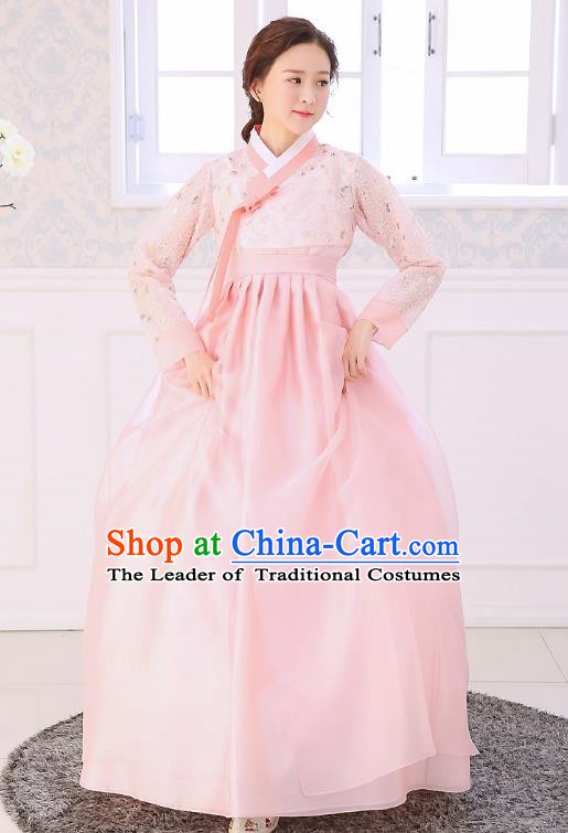 Top Grade Korean National Handmade Wedding Clothing Palace Bride Hanbok Costume Embroidered Blouse and Pink Dress for Women