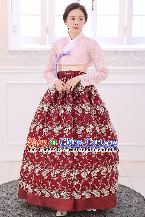 Top Grade Korean National Handmade Wedding Clothing Palace Bride Hanbok Costume Embroidered Pink Blouse and Red Dress for Women