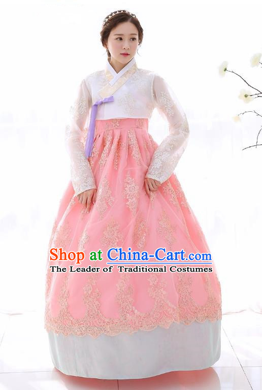 Top Grade Korean National Handmade Wedding Clothing Palace Bride Hanbok Costume Embroidered White Lace Blouse and Pink Dress for Women