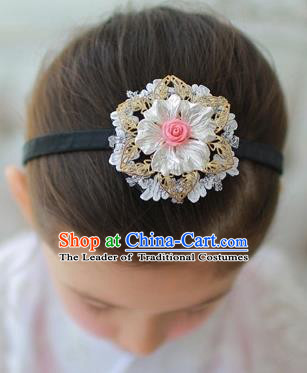 Korean National Bride Hair Accessories Shell Flowers Hair Clasp, Asian Korean Hanbok Palace Headband Headwear for Kids