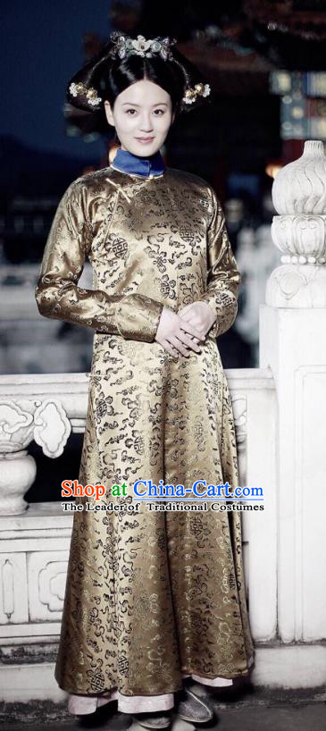 Traditional Chinese Qing Dynasty Senior Concubine Costume, Chinese Ancient Manchu Palace Lady Embroidered Clothing for Women