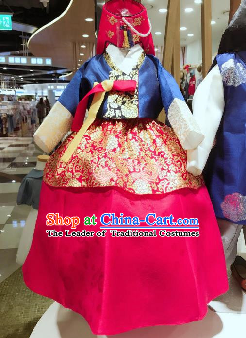 Korean National Handmade Formal Occasions Girls Clothing Palace Hanbok Costume Embroidered Blue Blouse and Red Dress for Kids