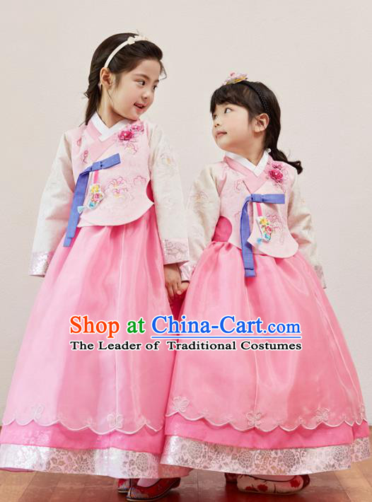 Korean National Handmade Formal Occasions Girls Clothing Palace Hanbok Costume Embroidered Pink Blouse and Pink Dress for Kids