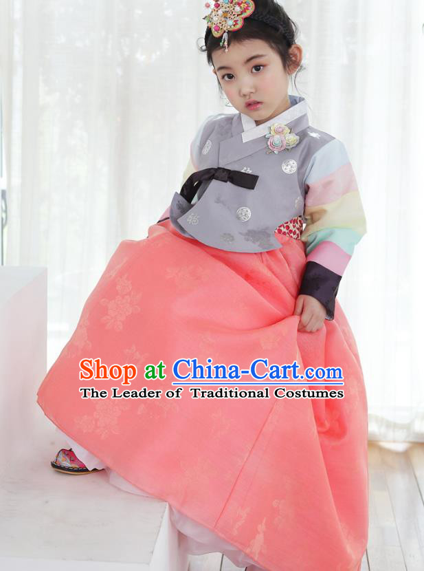 Korean National Handmade Formal Occasions Girls Clothing Palace Hanbok Costume Embroidered Grey Blouse and Pink Dress for Kids