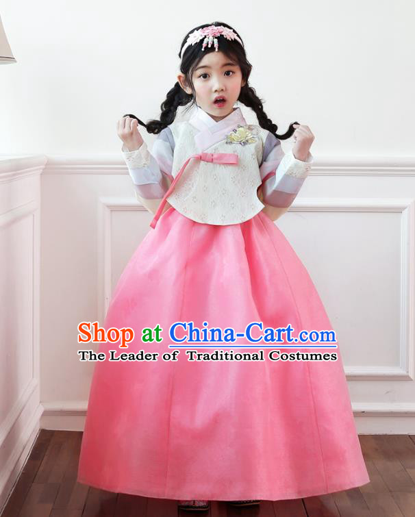 Korean National Handmade Formal Occasions Girls Clothing Palace Hanbok Costume Embroidered Beige Blouse and Pink Dress for Kids