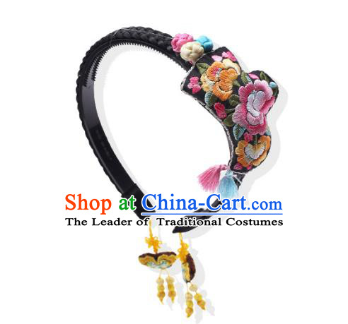 Korean National Bride Hair Accessories Embroidered Hair Clasp, Asian Korean Hanbok Palace Headband Headwear for Kids