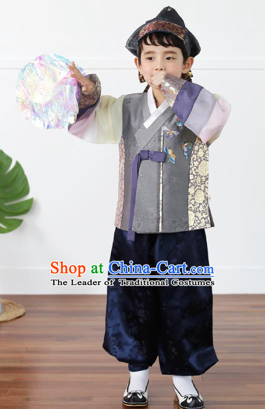 Asian Korean National Traditional Handmade Formal Occasions Boys Embroidery Grey Vest Hanbok Costume Complete Set for Kids