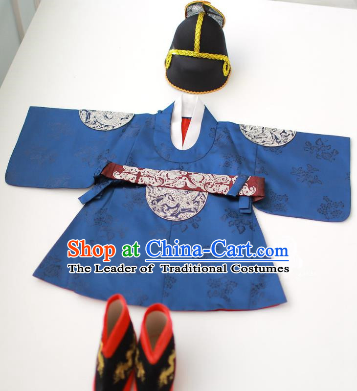 Asian Korean National Traditional Handmade Formal Occasions Boys Embroidery Blue Robe Hanbok Costume for Kids