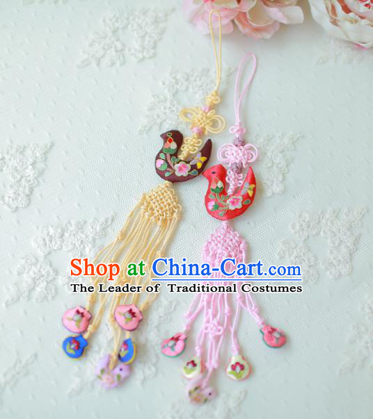 Asian Korean Hanbok Embroidered Bird Tassel Waist Decorations, Korean National Belts Accessories Wedding Bride Waist Pendant for Kids
