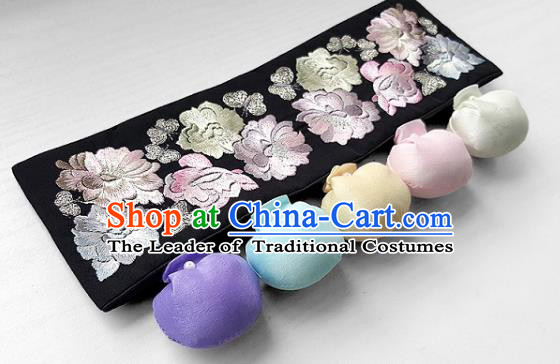 Traditional Korean Accessories Embroidered Flowers Waist Belts, Asian Korean Fashion Waistband Decorations for Kids