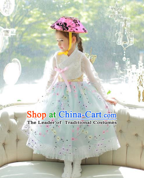 Traditional Korean National Handmade Formal Occasions Girls Palace Hanbok Costume Embroidered White Lace Blouse and Green Dress for Kids