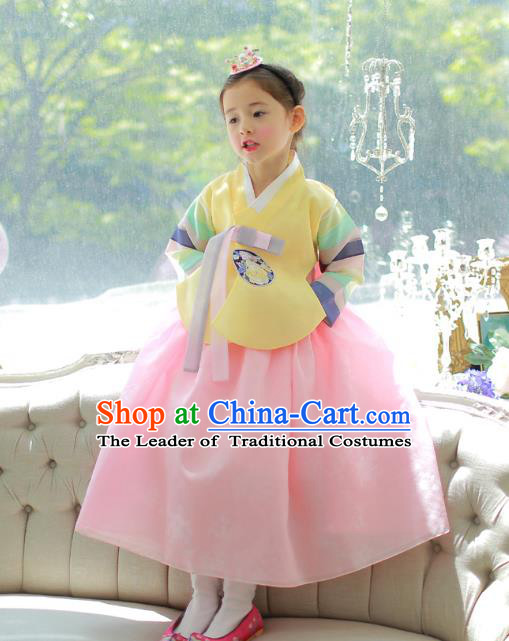 Traditional Korean National Handmade Formal Occasions Girls Palace Hanbok Costume Embroidered Yellow Blouse and Pink Dress for Kids