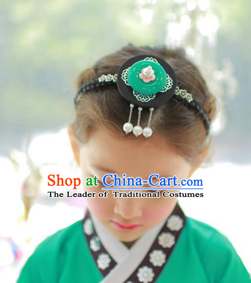 Korean National Bride Hair Accessories Green Hair Clasp, Asian Korean Hanbok Palace Headband Headwear for Kids
