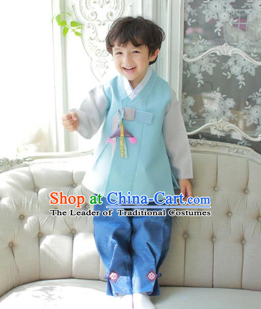 Asian Korean National Traditional Handmade Formal Occasions Boys Embroidered Green Vest Hanbok Costume Complete Set for Kids