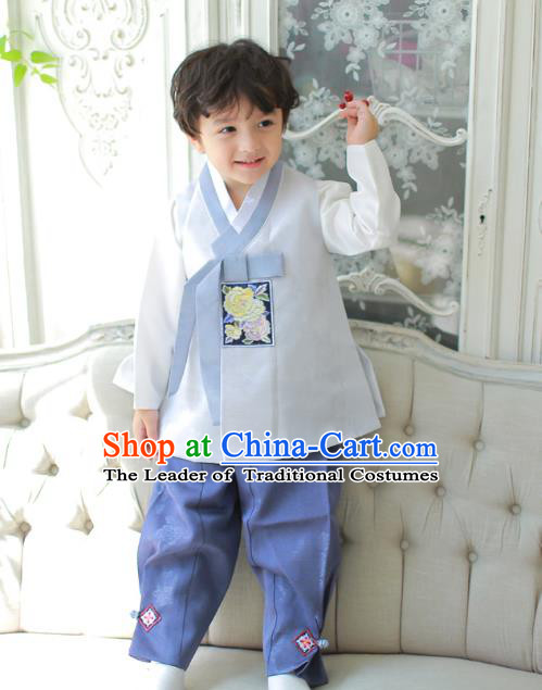 Asian Korean National Traditional Handmade Formal Occasions Boys Embroidered Grey Vest Hanbok Costume Complete Set for Kids