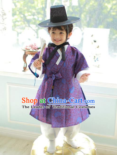 Asian Korean National Traditional Handmade Formal Occasions Boys Embroidered Purple Vest Hanbok Costume Complete Set for Kids