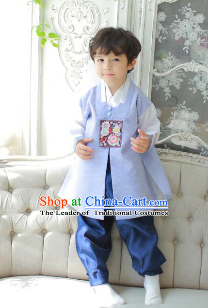 Asian Korean National Traditional Handmade Formal Occasions Boys Embroidered Blue Vest Hanbok Costume Complete Set for Kids