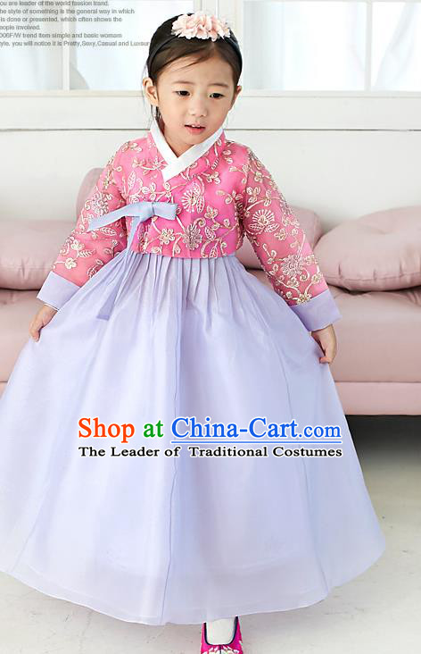 Traditional Korean National Handmade Formal Occasions Girls Palace Hanbok Costume Embroidered Red Blouse and Purple Dress for Kids