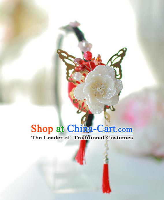 Korean National Bride Hair Accessories Flowers Tassel Hair Clasp, Asian Korean Hanbok Palace Headwear for Kids