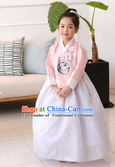 Traditional Korean National Handmade Formal Occasions Girls Clothing Palace Hanbok Costume Embroidered Pink Blouse and White Dress for Kids