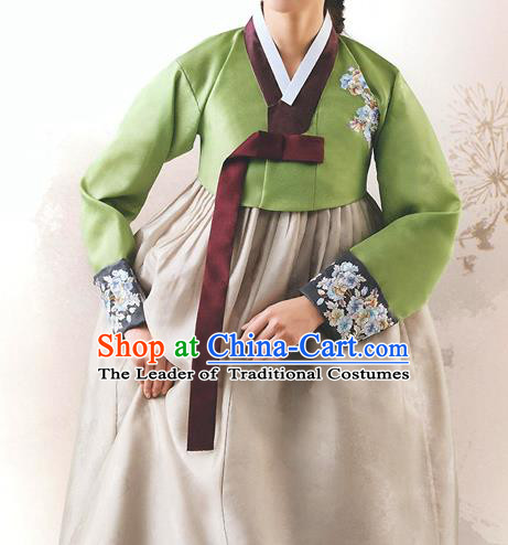 Top Grade Korean National Handmade Wedding Palace Bride Hanbok Costume Embroidered Green Blouse and Grey Dress for Women