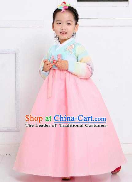 Top Grade Korean National Handmade Wedding Palace Bride Hanbok Costume Embroidered Green Blouse and Pink Dress for Kids