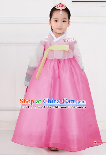 Top Grade Korean National Handmade Wedding Palace Bride Hanbok Costume Embroidered Purple Blouse and Pink Dress for Kids