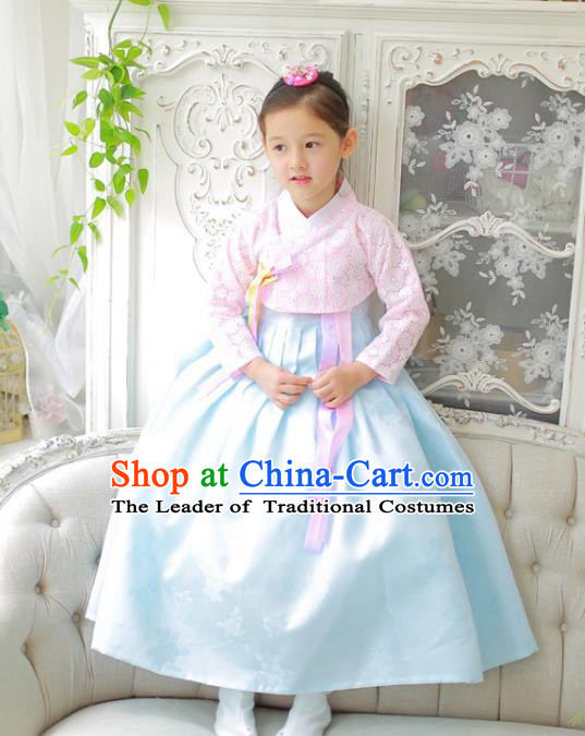 Traditional Korean National Handmade Formal Occasions Girls Clothing Palace Hanbok Costume Embroidered Pink Blouse and Blue Dress for Kids