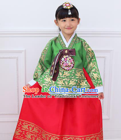 Top Grade Korean National Handmade Wedding Palace Bride Hanbok Costume Embroidered Green Blouse and Red Dress for Kids