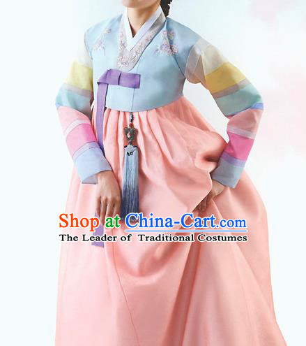 Top Grade Korean National Handmade Wedding Palace Bride Hanbok Costume Embroidered Blue Blouse and Orange Dress for Women